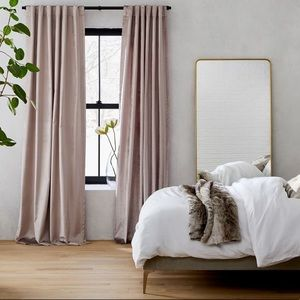 West Elm Cotton Luster Velvet Dusty Blush Curtain